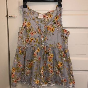 Sz L floral sleeveless tunic